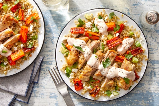 Greek-Inspired Chicken & Freekeh Salad with Sweet & Spicy Roasted Carrots