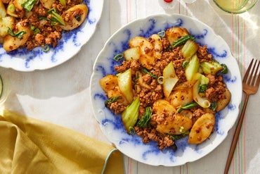 Spicy Pork & Rice Cakes with Bok Choy