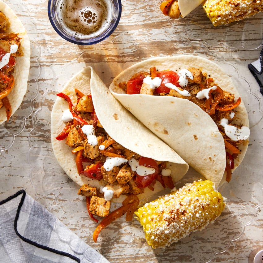 Chicken & Sweet Pepper Tacos with Elote