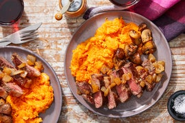 MasterChef Steaks & Cheesy Sweet Potato Mash with Sautéed Mushrooms & Caramelized Onion