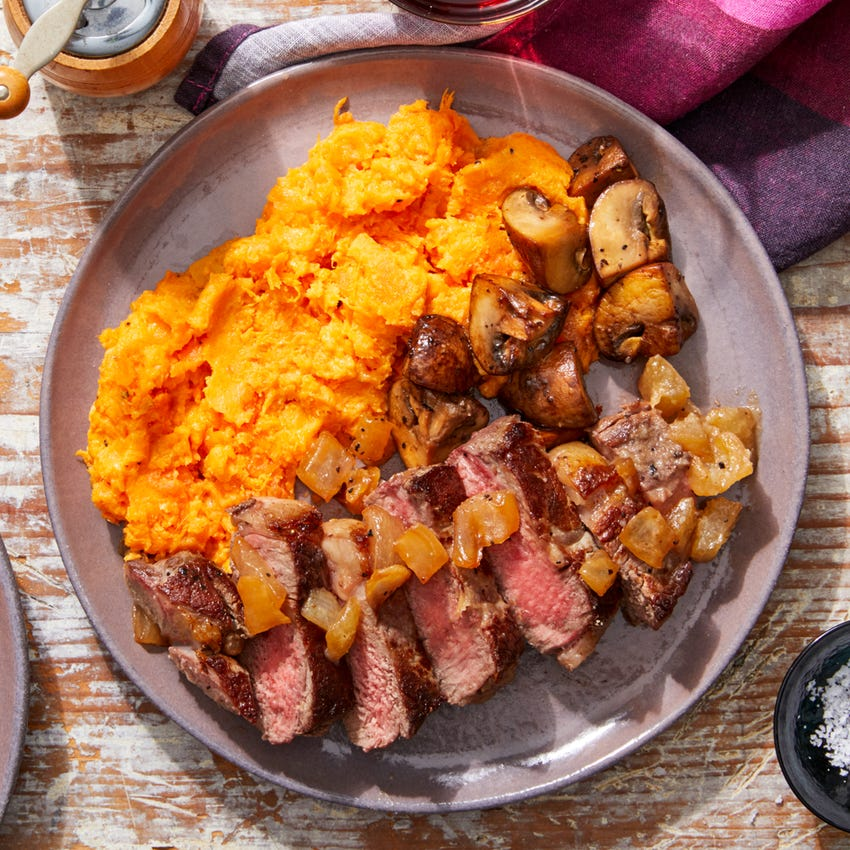MasterChef Steaks & Cheesy Sweet Potato Mash with Sautéed Mushrooms & Caramelized Onion