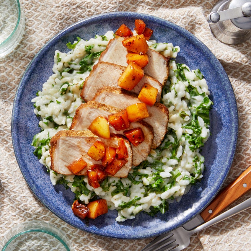 MasterChef Tuscan-Spiced Pork Roast with Parmesan Risotto & Apple Pan Sauce