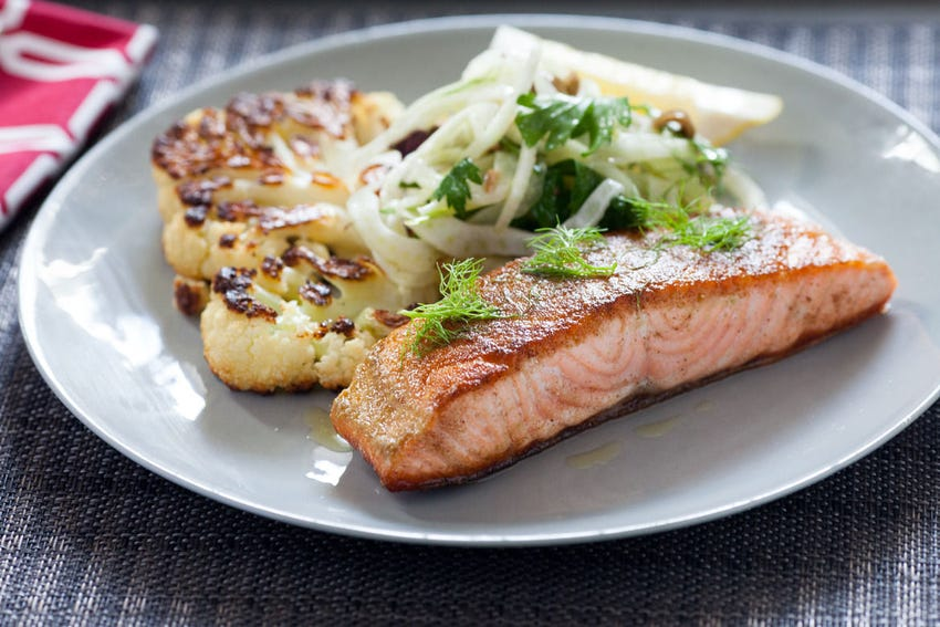 Salmon with Fennel Two Ways & Cauliflower Steak