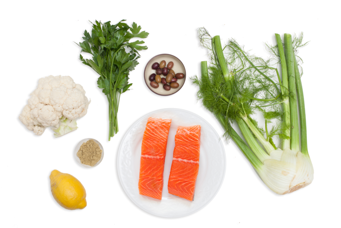 Salmon with Fennel Two Ways & Cauliflower Steak ingredients