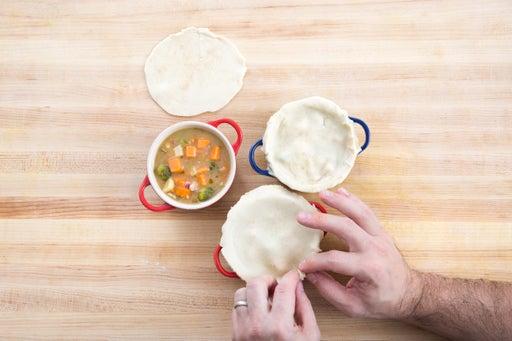 Assemble the pot pie: