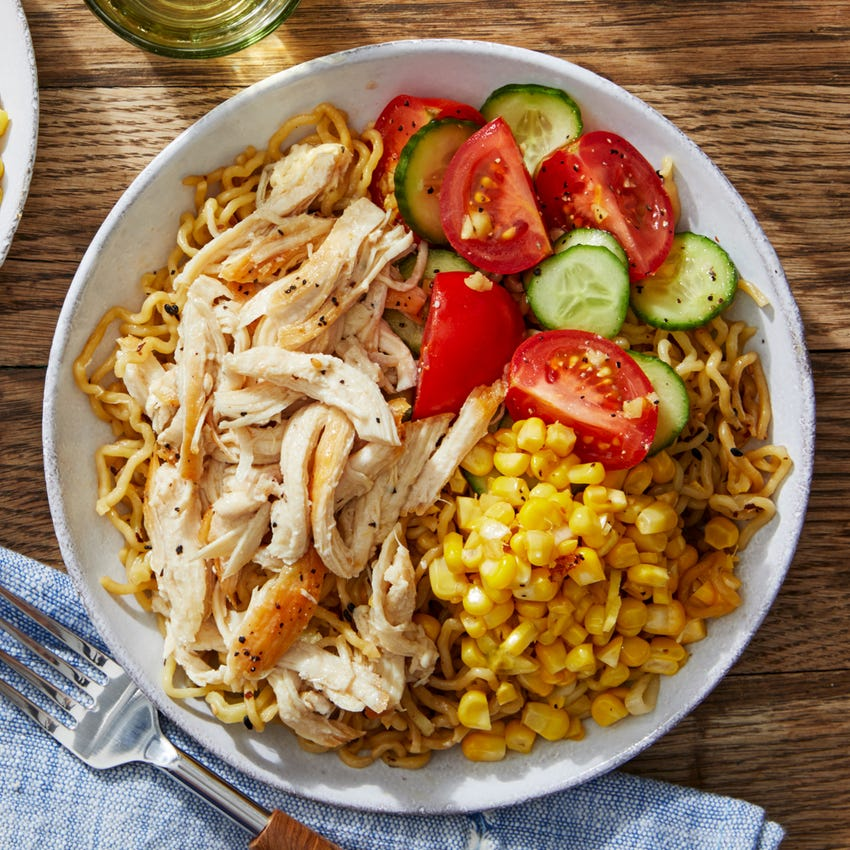 Miso Chicken Ramen with Marinated Tomatoes & Cucumbers