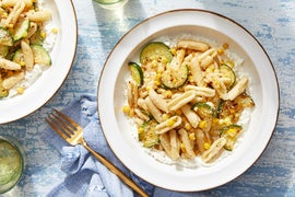 Fresh Cavatelli & Whipped Ricotta with Spicy Zucchini & Corn