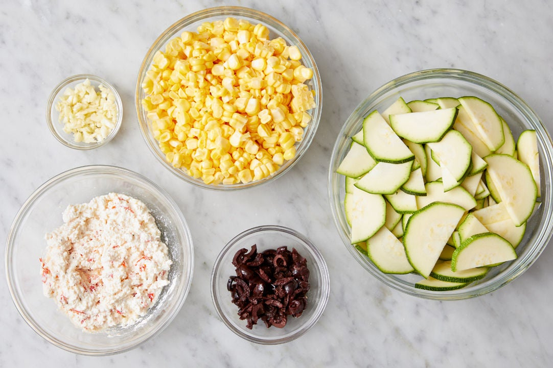 Prepare the ingredients & make the whipped ricotta: