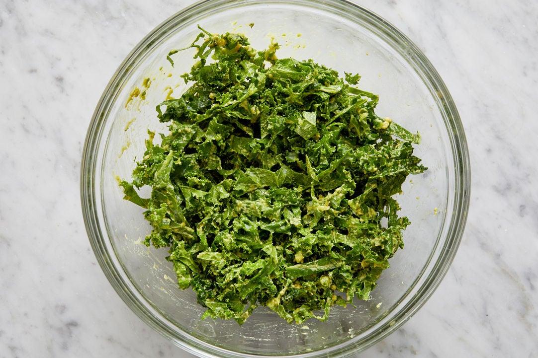 Marinate the kale: