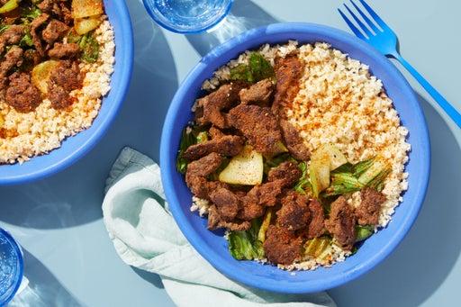 Beef & Bok Choy Stir-Fry with Cauliflower Rice