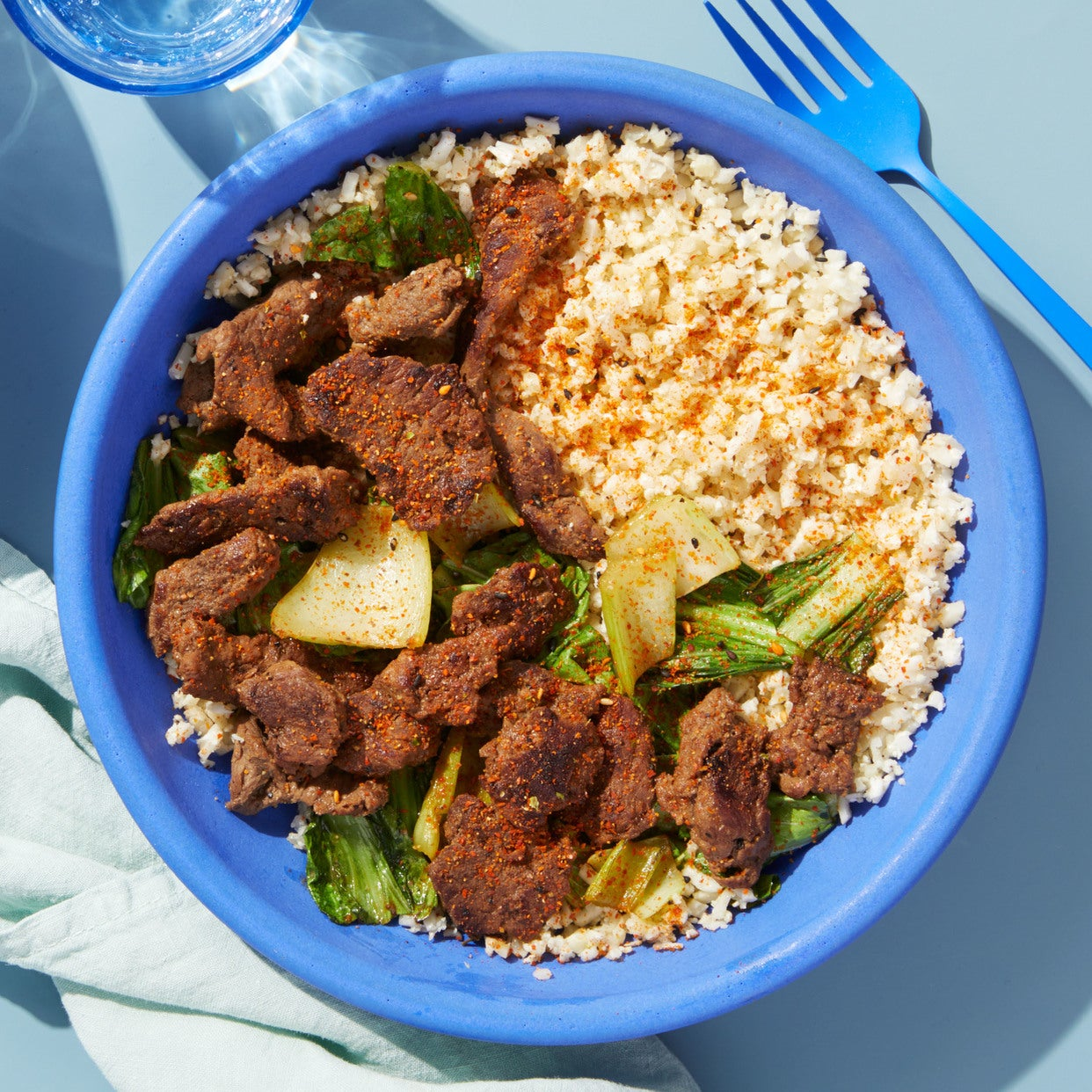 Beef & Bok Choy Stir-Fry with Cauliflower Rice