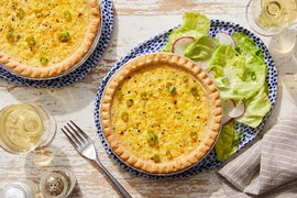 Corn & Goat Cheese Quiche with Butter Lettuce Salad & Ranch Dressing