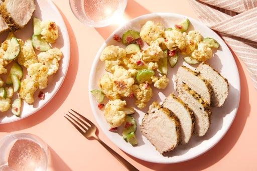 Dukkah-Crusted Pork Roast with Roasted Cauliflower & Tahini Dressing