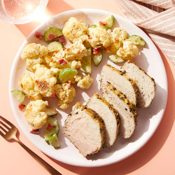 Dukkah-Crusted Pork Roast with Roasted Cauliflower & Tahini Dressing
