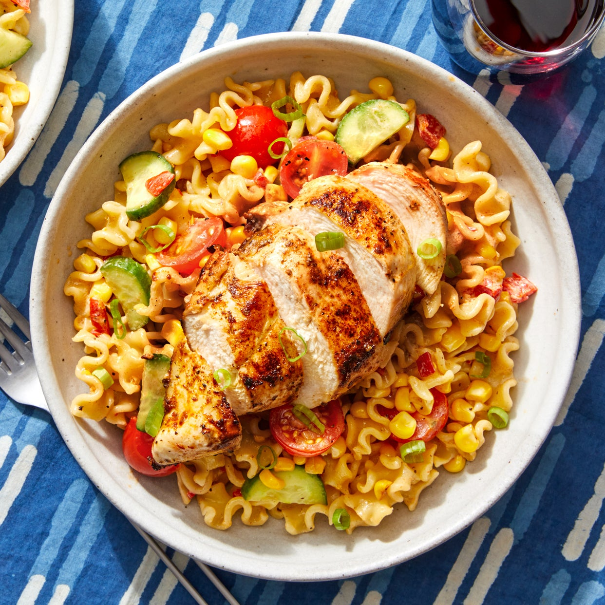 Seared Chicken & Pasta Salad with Corn, Tomatoes, & Creamy Dressing