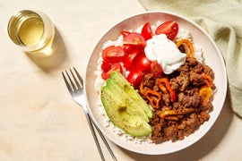 Ancho-BBQ Beef Bowls with Avocado, Marinated Tomatoes, & Sweet Peppers