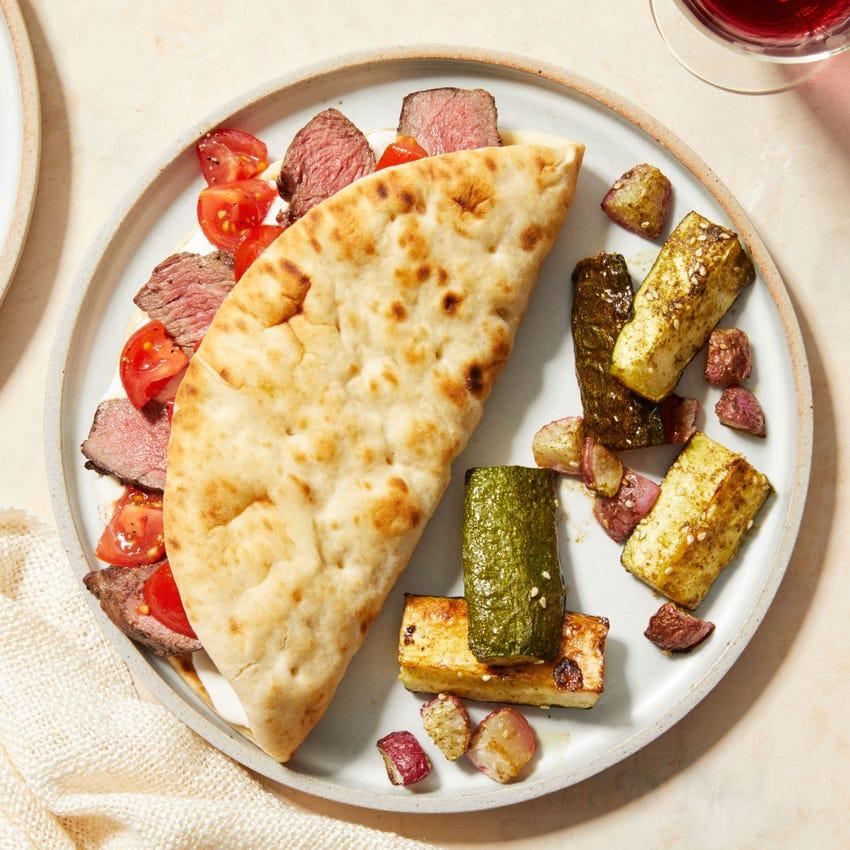 Steak Gyros Tzatziki & Za'atar-Roasted Vegetables