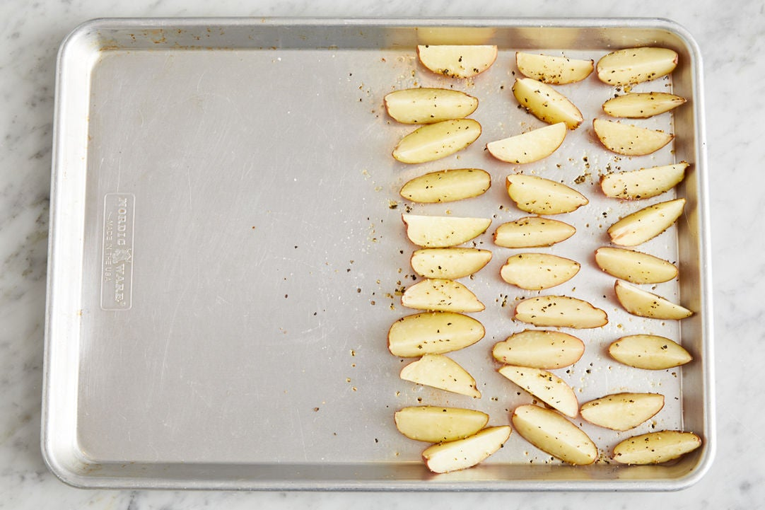 Prepare & start potatoes: