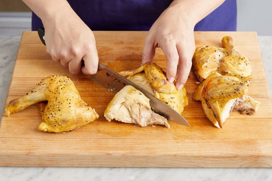 Carve the chickens & serve your dish: