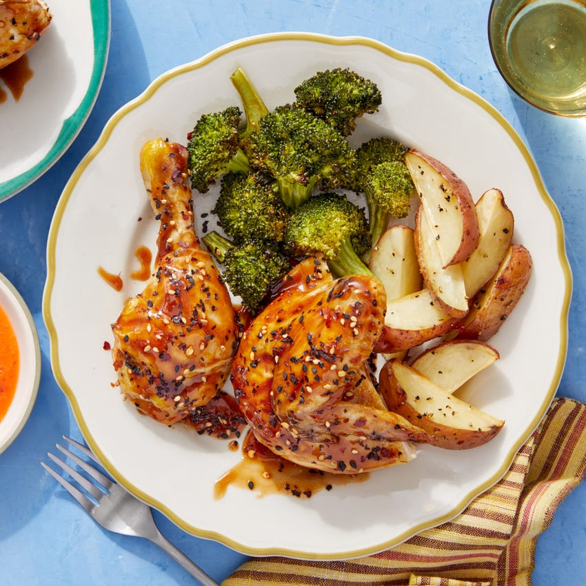 Soy & Miso-Glazed Chicken with Roasted Potatoes & Ponzu Broccoli