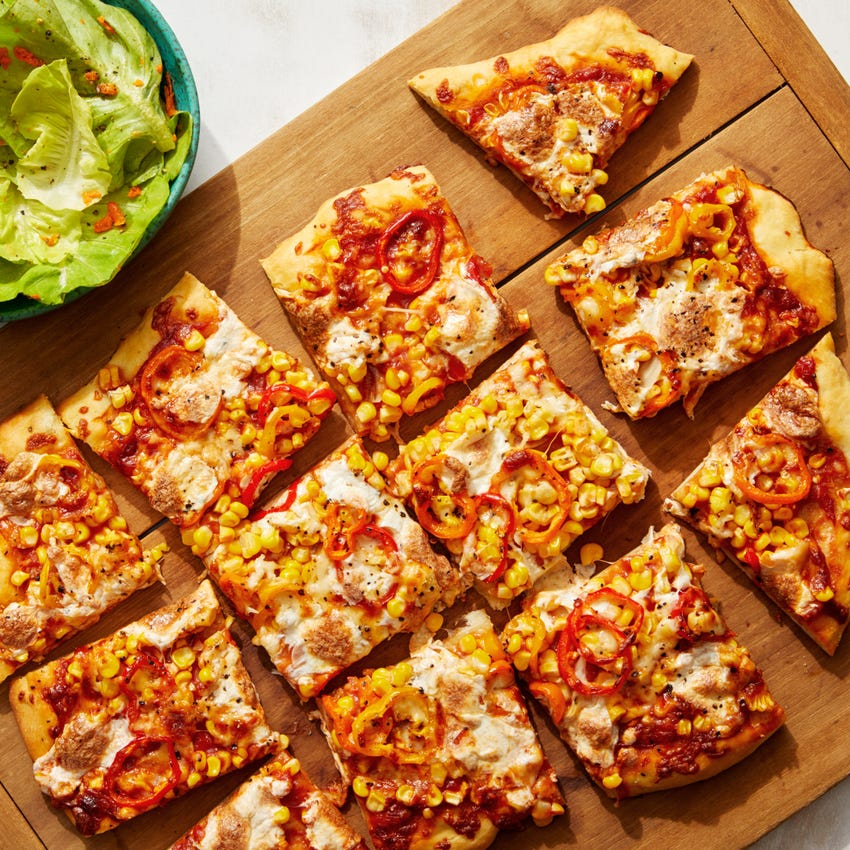 Sweet Corn & Pepper Pizza with Asiago Cheese & Butter Lettuce Salad