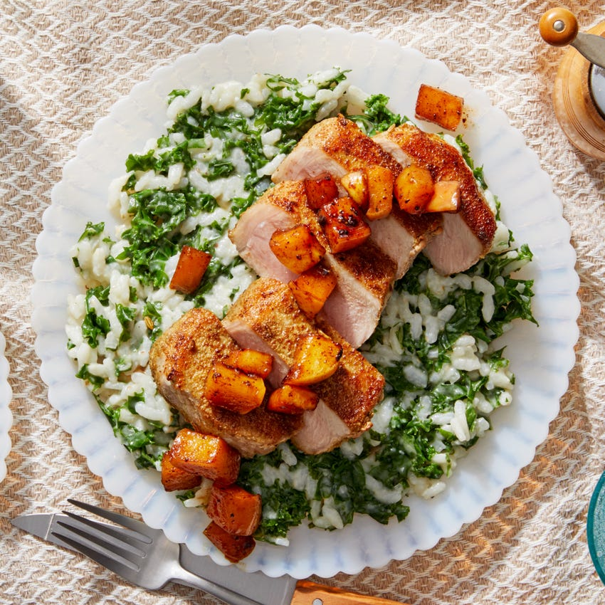 MasterChef Tuscan-Spiced Pork Chops with Parmesan Risotto & Apple Pan Sauce