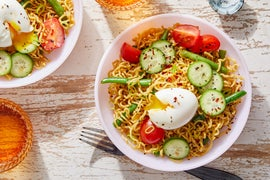 Hiyashi Chuka Ramen with Tomatoes, Green Beans, & Soft-Boiled Eggs