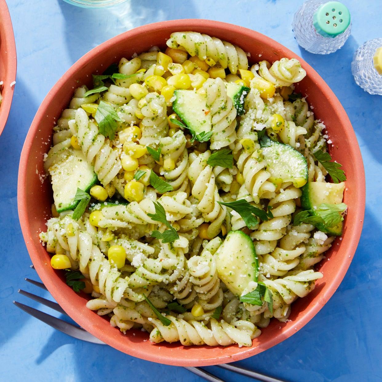 Fresh Fusilli Pasta & Basil Pesto with Corn & Zucchini