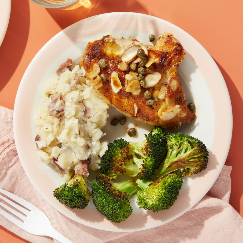 Piccata-Style Chicken with Roasted Broccoli & Garlic Mashed Potatoes