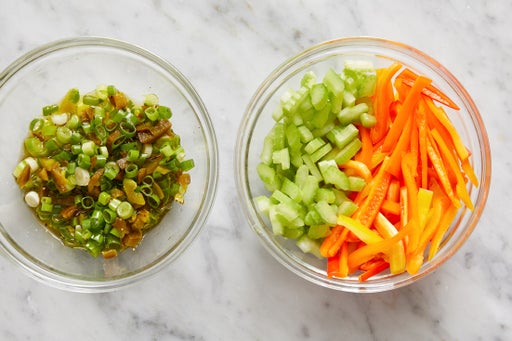 Prepare the ingredients & make the scallion relish: