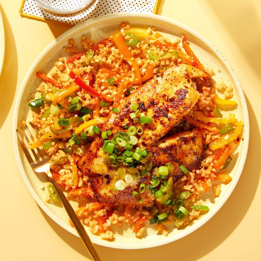 "Cajun Tilapia & Spicy Scallion Relish with ""Dirty Cauliflower Rice"""