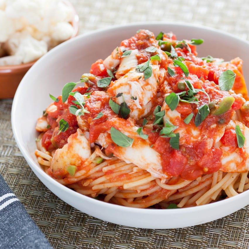 Spicy Cod Puttanesca Pasta with Spaghettini & Pickled Cauliflower