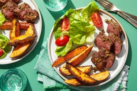 Seared Steaks with Sweet Potato Fries & Salad