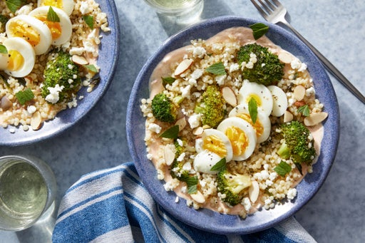 Za'atar-Roasted Broccoli & Hard-Boiled Eggs with Pearl Couscous & Harissa Yogurt Dressing