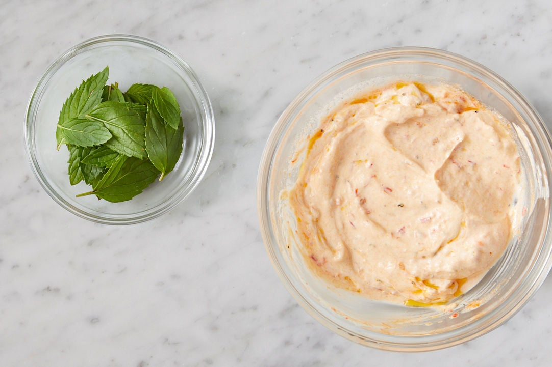 Prepare the mint & make the harissa yogurt: