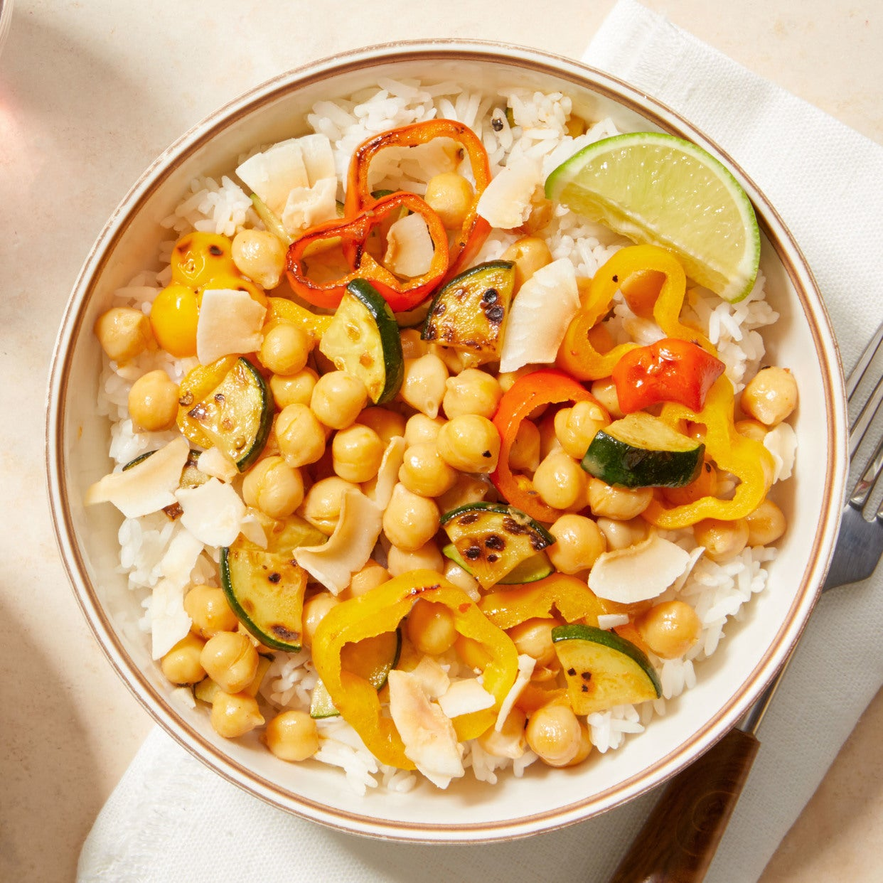 Chickpea Coconut Curry with Sweet Peppers & Rice