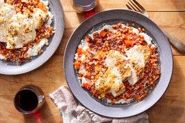 Pan-Seared Chicken with Tomato-Olive Sauce & Seasoned Ricotta