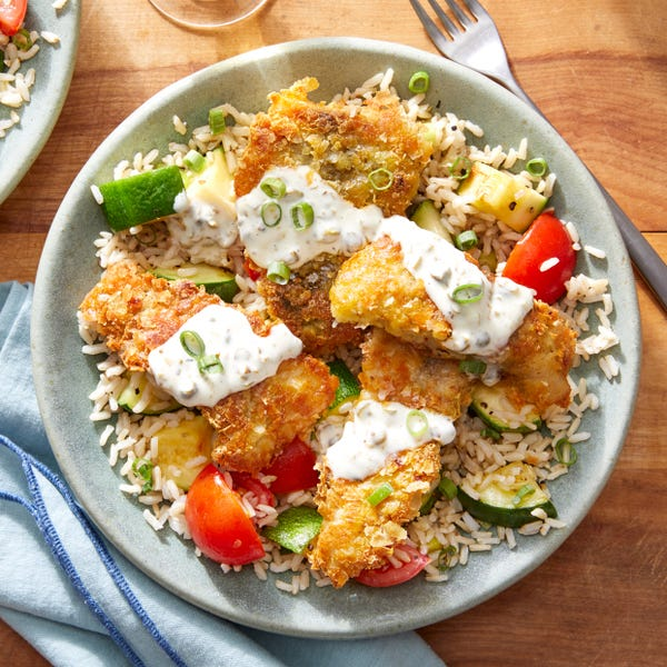 Crispy Spiced Fish & Caper Mayo with Brown Rice, Tomatoes, & Zucchini