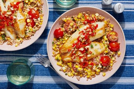 Seared Tilapia & Pickled Pepper Relish with Farro, Corn,  & Tomato Salad