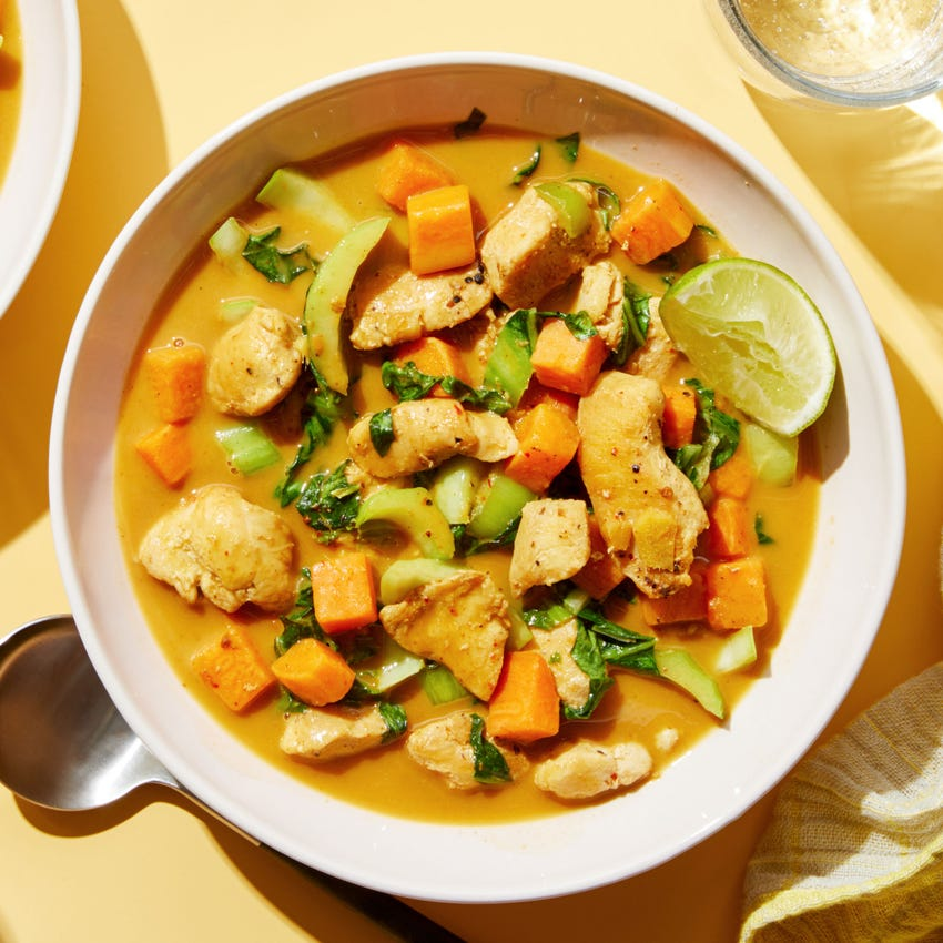 One-Pan Coconut Chicken Curry with Sweet Potatoes & Bok Choy