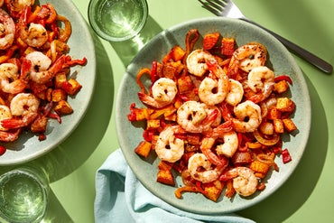 Garlic Shrimp &  Spanish-Style Potatoes with Peppers & Onions