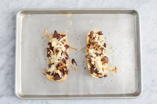 Assemble & toast the baguettes: