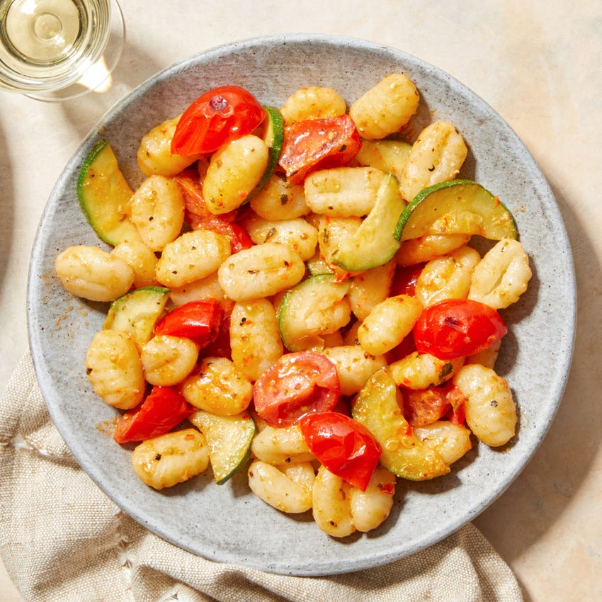 Summer Vegetable Gnocchi with Creamy Calabrian Chile Sauce