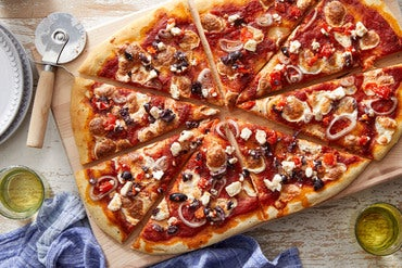 Feta & Olive Pizza with Spicy Tomato Sauce
