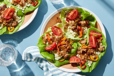 Pork Lettuce Cups with Cauliflower Rice & Marinated Tomatoes
