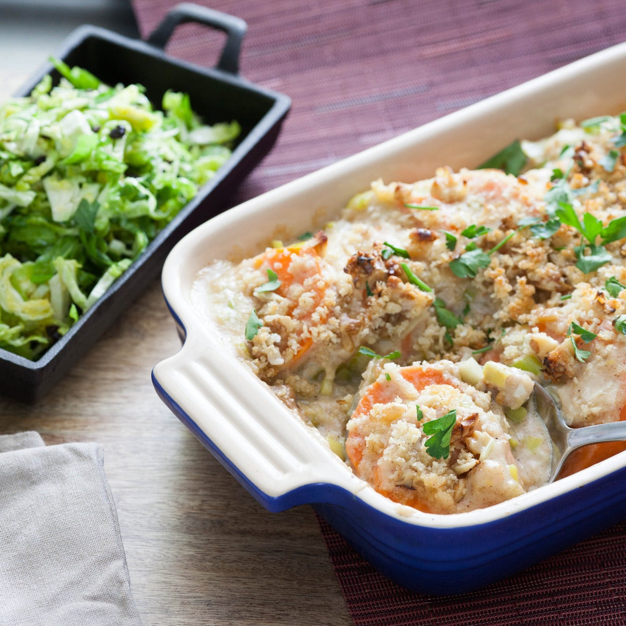 Sweet Potato Gratin with Shaved Brussels Sprouts Salad