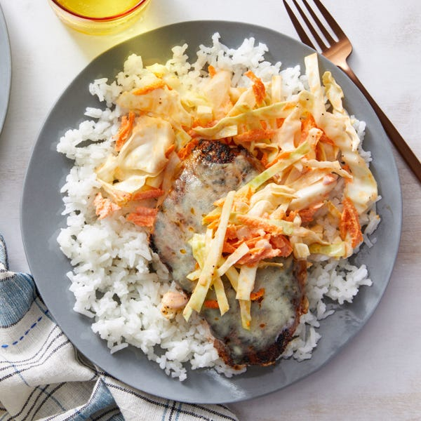 Cheesy Mexican-Spiced Chicken with Creamy Rice & Cabbage Slaw