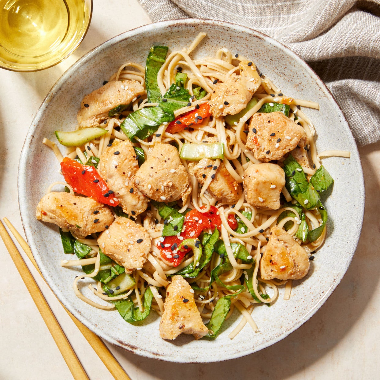 Chicken Lo Mein with Bok Choy & Hoisin-Chile Sauce