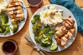 Pork Chops & Cheesy Mashed Potatoes with Maple-Sage Pan Sauce