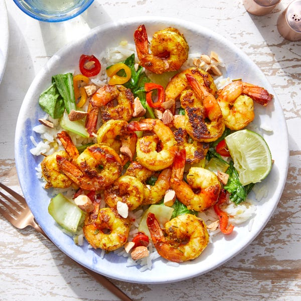 Vadouvan Shrimp & Sweet Chili Sauce with Aromatic Rice & Almonds